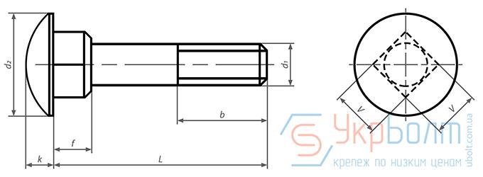 Болт мебельный с квадратным подголовком DIN 603