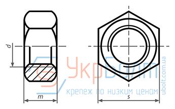 Гайка шестигранная DIN 934, класс прочности 6, без покрытия